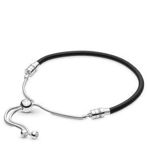 📍NEW Pandora - Sliding Black Leather Bracelet